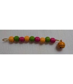 Jouets pour oiseaux Jouet oiseaux perles en rouge, vert et jaune Chez Anilou 4,00€