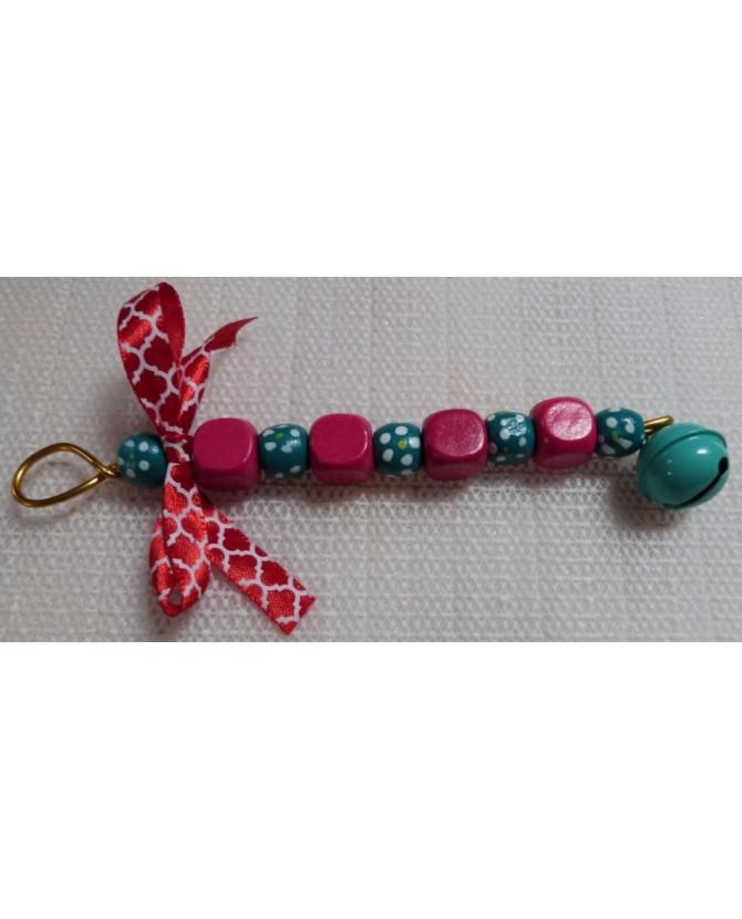 Jouets pour oiseaux Jouet perles en rose et vert Chez Anilou 4,00€