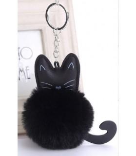 Porte-clés Porte-clés pompon chat noir  5,00€