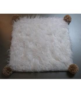 Couchages chat couchage chat - Coussin pour chat blanc et doré Pomponette Chez Anilou 12,00€