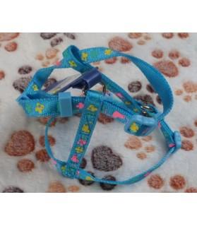 Harnais petits chiens Harnais bleu Petit coeur pour petit chien  7,00€