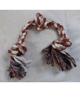Jouets canins durs Corde 3 noeuds marron et blanc pour chien  7,00€
