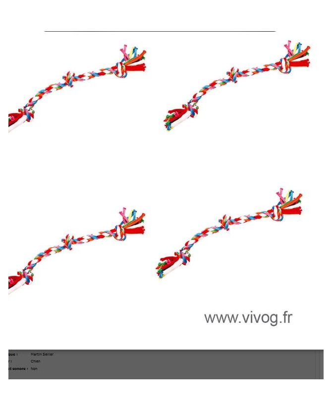 Jouets canins durs Jouet corde mutlicolore 3 noeuds pour chien Martin Sellier 5,00€