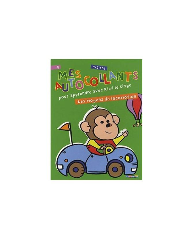 Mes autocollants pour apprendre avec Kiwi le singe - Les moyens de locomotion