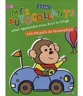 librairie animaux Mes autocollants pour apprendre avec Kiwi le singe - Les moyens de locomotion  3,50€