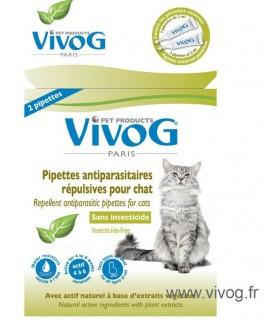 Hygiène et santé du chat 2 pipettes antiparasitaires répulsif naturel pour chat VIVOG 7,00€