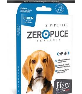 Pipettes répulsif tiques et puces 10 à 25 kg Hery Laboratoire Héry 188881HS antiparasitaires canins