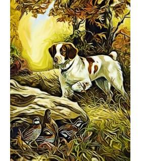Poster peinture à l'encre Le nid de perdreaux