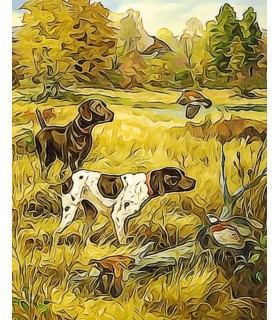 Peintures thème chasse Poster peinture à l'encre Chiens d'arrêt Chez Anilou 17,00€