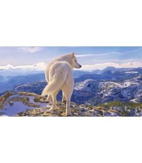 Poster peinture à l'encre Le loup Blanc