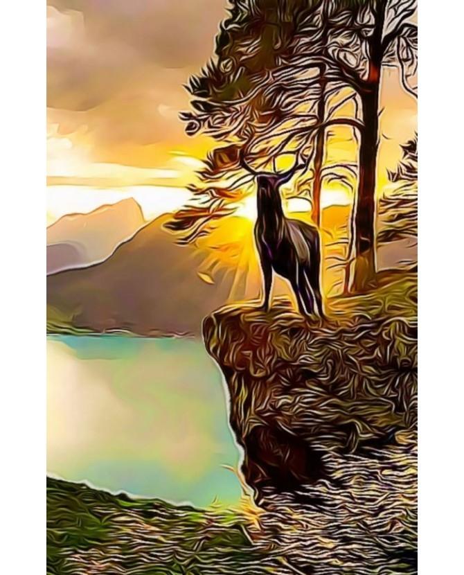 Poster peinture à l'encre Le brame du Cerf