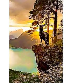 Poster animalier ChezAnilou Poster peinture à l'encre Le brame du Cerf Chez Anilou 17,00€