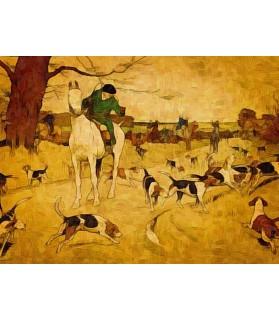 Peintures thème chasse Poster La chasse à courre dans la plaine Chez Anilou 17,00€