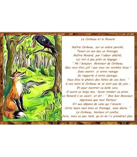 Poster animalier ChezAnilou Poster Le corbeau et le renard de Jean de La Fontaine Chez Anilou 17,00€