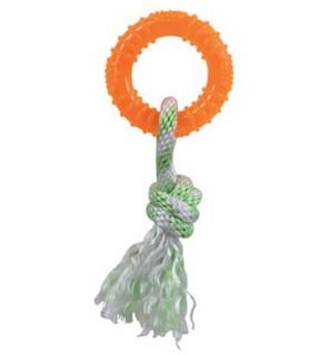Jouets dentitions canines jouet chien Rond orange + corde - pour chien VIVOG 6,00€