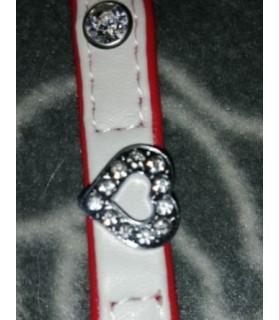 Colliers simili et cuir Collier chien simili cuir Pretty blanc coeur T1 Doogy 8,00€