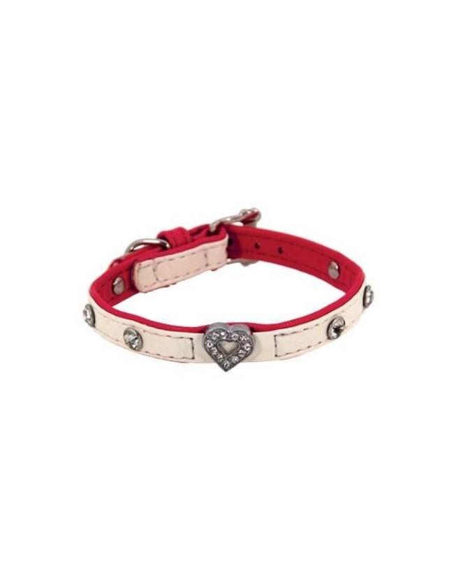 Colliers simili et cuir collier chien simili cuir Pretty blanc coeur T2 Doogy 9,00€