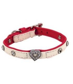 Colliers simili et cuir collier chien simili cuir Pretty blanc coeur T3 Doogy 10,00€