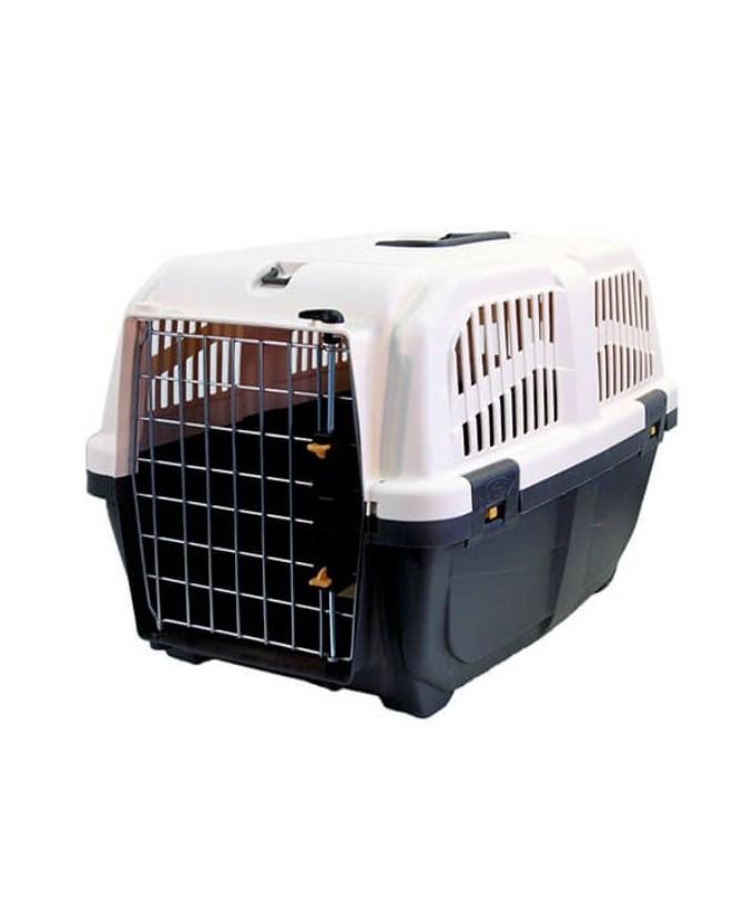 Cage de transport pour chien et chat SKUDO - norme IATA grise