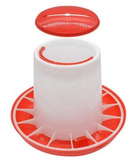 Mangeoirs pour oiseaux Mangeoire poule avec Couvercle en Plastique Rouge/Blanc 1 kg  6,00€