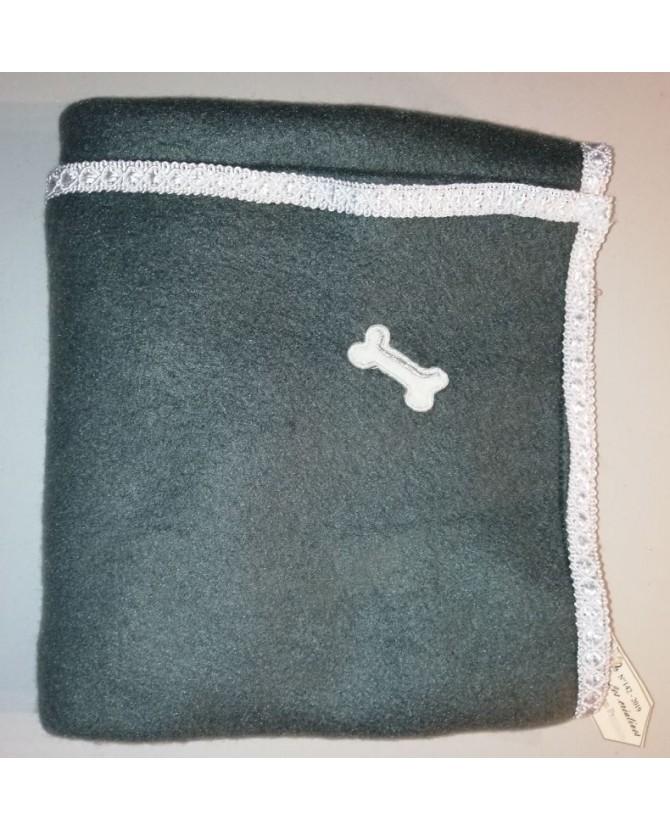 Tapis pour chien ou chiot Tapis chien anthracite molletonné liseré blanc 74 X 50 Chez Anilou 12,00€