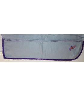 Tapis pour chien ou chiot Tapis chien gris molletonné liseré violet et motif chien 74 x 60 cm Chez Anilou 12,00€