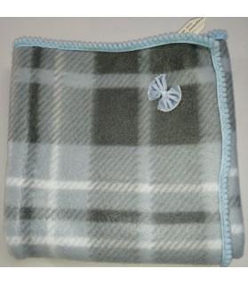 Tapis pour chien ou chiot Tapis chien à carreaux gris molletonné liseré bleu 72 x 48 cm Chez Anilou 12,00€