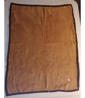 Tapis pour chien ou chiot Tapis chien molletonné marron liseré marron motif chien 81x63 cm Chez Anilou 12,00€