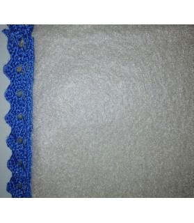 Tapis pour chien ou chiot Tapis chien doublé beige molletonné liséré bleu 76 x 61cm Chez Anilou 12,00€