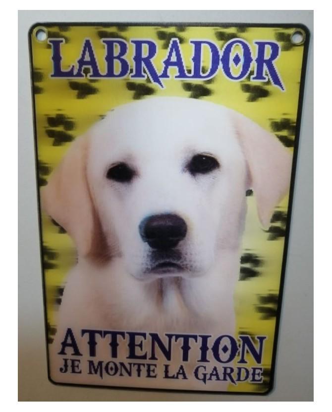 Pancarte Labrador Pancarte Labrador - 3D - attention au chien - crème  6,00€