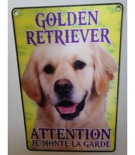 pancartes de garde Pancarte Golden- 3D - attention au chien - crème  6,00€
