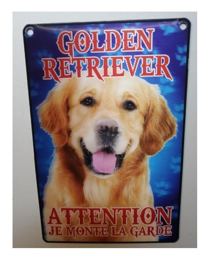pancartes de garde Pancarte Golden- 3D - attention au chien - doré  6,00€