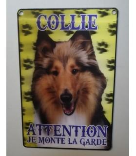 pancartes de garde Pancarte en 3D avec Collie attention au chien  6,00€