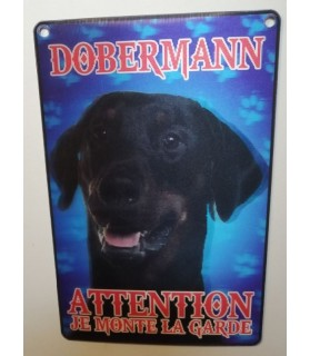 pancartes de garde Pancarte en 3D avec Doberman attention au chien  6,00€