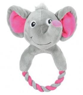 jouets canins sonores jouet chien peluche et corde élephant gris Zolux 10,00€
