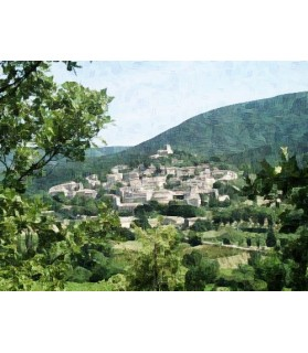 Peintures fleurs au naturel Tableau village provincial Chez Anilou 17,00€