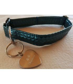Colliers simili et cuir collier chien Calypso bleu pétrole - dim 37-65 cm Chez Anilou 12,00€