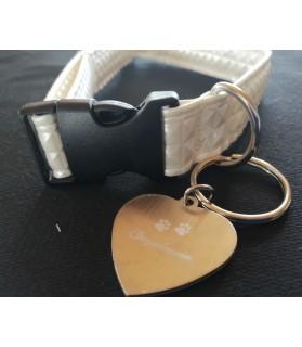Colliers simili et cuir collier chien Calypso blanc écru - dim 37-65 cm Chez Anilou 12,00€