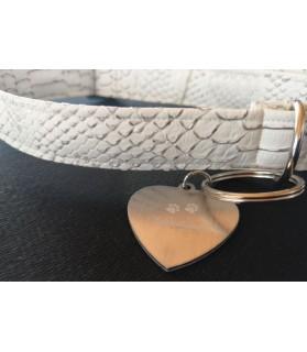 Colliers simili et cuir Collier chien Croco blanc - dim 42-70 cm Chez Anilou 12,00€