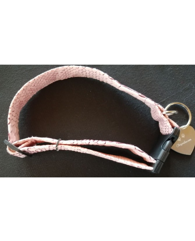 Colliers simili et cuir Collier chien Croco rose - T35-70 cm Chez Anilou 12,00€
