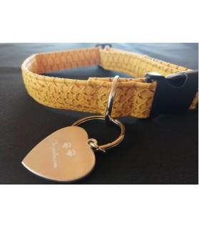 Colliers simili et cuir Collier chien Croco jaune - T42-70 cm Chez Anilou 12,00€