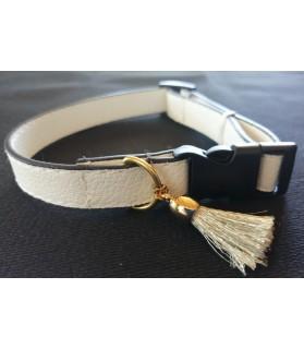 Colliers simili et cuir Collier chien en cuir blanc Pomponnette T18-36 Chez Anilou 7,00€
