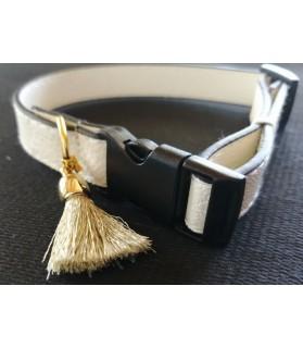 Colliers simili et cuir Collier chien en cuir blanc Pomponnette T30-45 Chez Anilou 8,00€