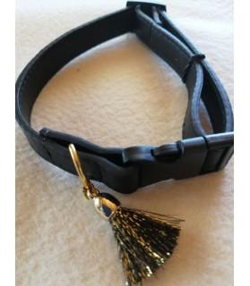 Colliers simili et cuir Collier chien en cuir noir Pomponnette T30-45 Chez Anilou 8,00€