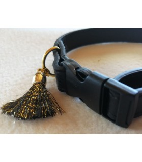 Colliers simili et cuir Collier chien en cuir noir Pomponnette T18-36 Chez Anilou 7,00€