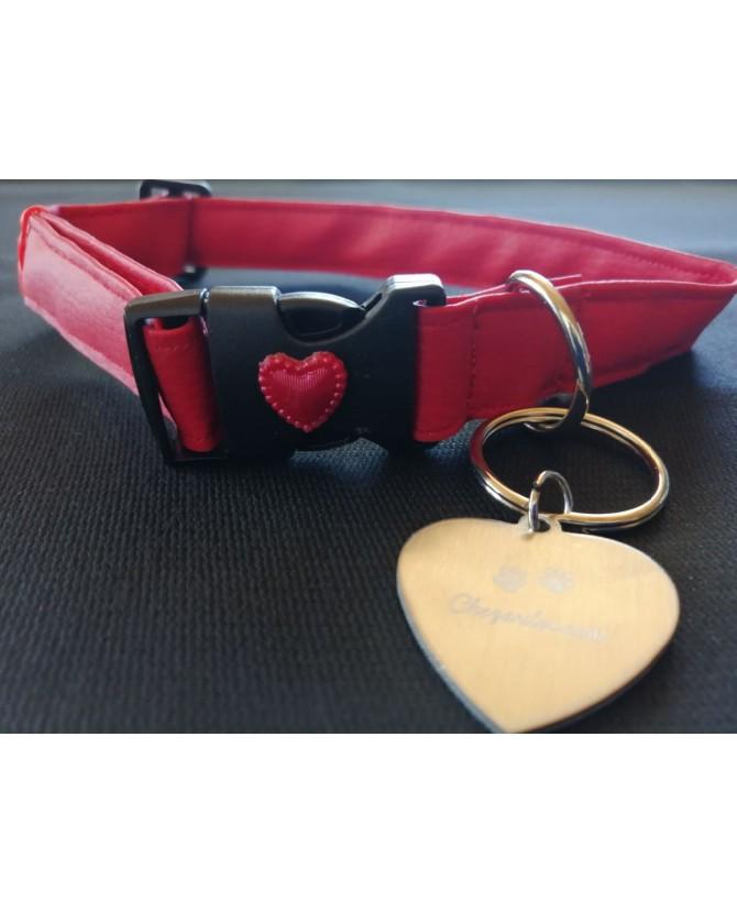 Colliers simili et cuir Collier chien Coeur Rouge avec médaille T2,5 x 66-39 cm Chez Anilou 9,00€