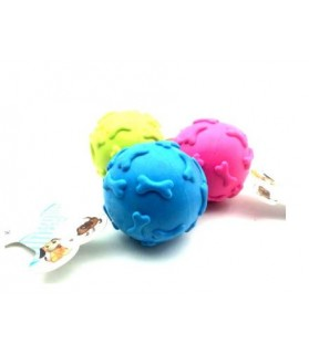 jouets canins sonores balle os rose pour chien  6,00€