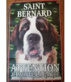 pancartes de garde Pancarte attention je monte la garde Saint Bernard  6,00€