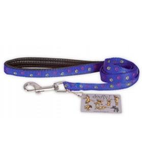 """Laisses de promenade chien ou chiot Laisse plate confort bleu """"pattes"""" Doogy 14,00€"""