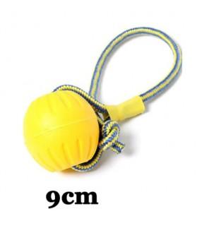 Jouets canins durs Jouet balle dur jaune avec corde  9,00€